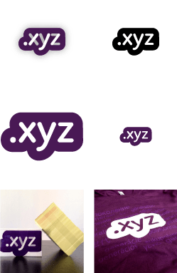 Examples of the .xyz logo in use.