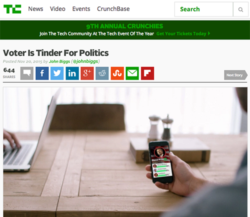 Voter Is Tinder For Politics TechCrunch