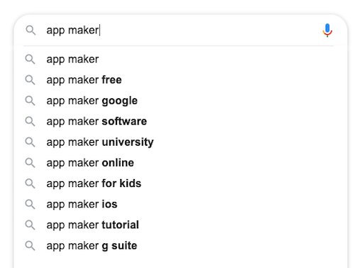 App Maker search results